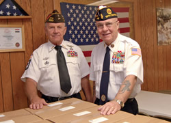 Frank Grove and Paul Mayer with Care Packages for our Troops